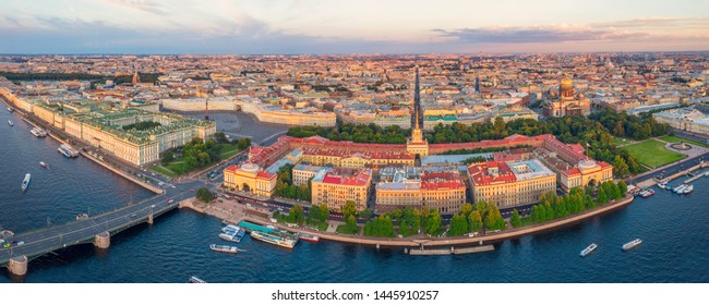 Panoramic sunset view of the historical center of St. Petersburg, the Hermitage Winter Palace, the Palace Square, the Admiralty, St. Isaac's Cathedral and the Bronze Horseman Peter 1