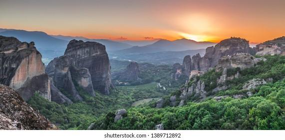 Panoramic sunset view of the Meteora  Monasteries near Kalambaka town in Greece
