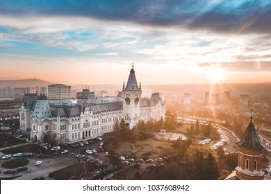 Panoramic sunset view on golden hour over Palace of Culture, Iasi, Romania