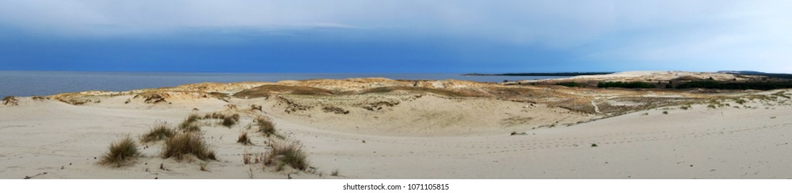 Panoramic Sunset View of Parnidis Dune, Curonian Spit in Nida, UNESCO World Heritage Site, Lithuania
