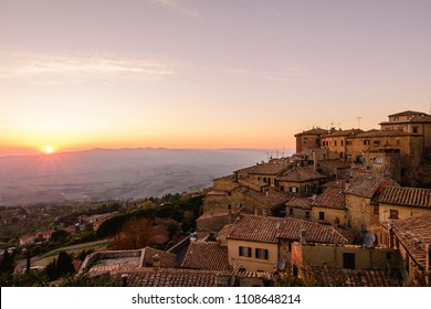 panoramic sunset in Volterra, Italy.