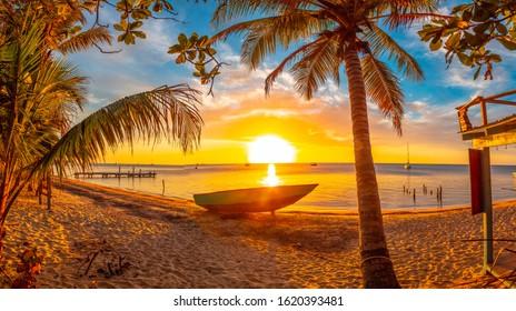 Panoramic at Sunset of West End Beach, Roatan Island. Honduras