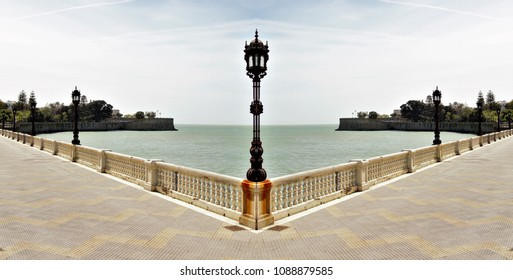 Panoramic symmetrical photograph of the seafront of Cádiz, Spain,