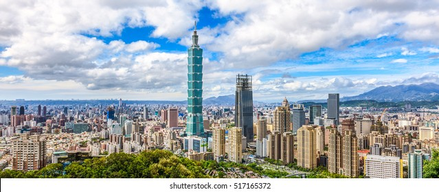 Panoramic of Taipei city skyline at sunny day, Taiwan.