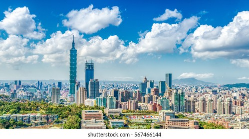 Panoramic of Taipei city at sunrise, Taiwan
