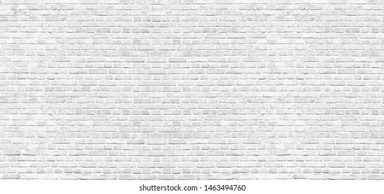 Panoramic texture. White brick wall. Home and office design wide background. Washed bricks wall