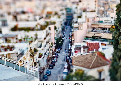 Panoramic tilt-shift soft focus blur view of Athens from Acropolis, Greece