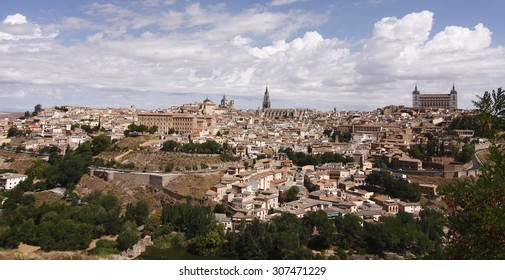 Panoramic of Toledo, Castilla La Mancha, Spain, view from Mirador del Valle, main monuments, cathedral, Alcázar, seminary, Church of S. Ildefonso,