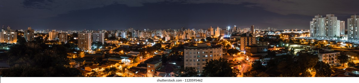 Panoramic top view of the city of Campinas, SP in Brazil