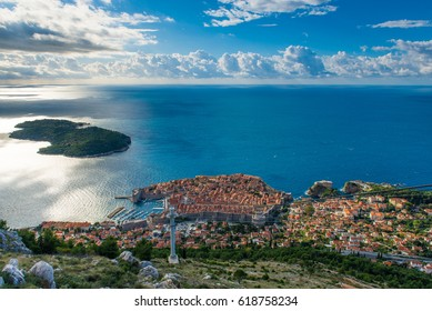 Panoramic top view of Dubrovnik old town and Lokrum island