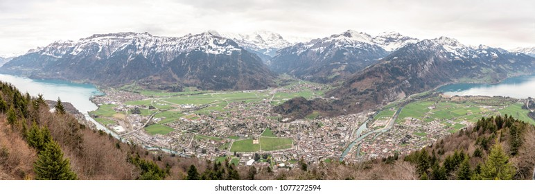 Panoramic top view of Interlaken, Switzerland
