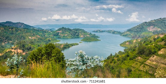 Panoramic top view of Lake Kivu, majestic landscape, Rwanda, image unfocused