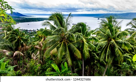 Panoramic top view of Rabaul and Simpson Harbour from Volcano Observatory Lookout, Papua New Guinea, wide format