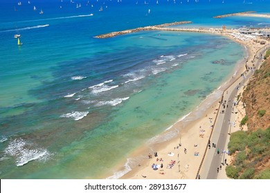 Panoramic top view of Tel Aviv beach (Mediterranean sea. Israel)