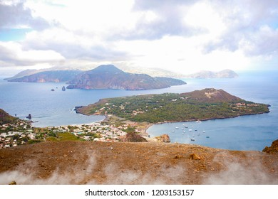 Panoramic top view from Volcano named Vulcano (a small volcanic island in the Tyrrhenian Sea) in Sicily, a part of Aeolian Islands. Italy