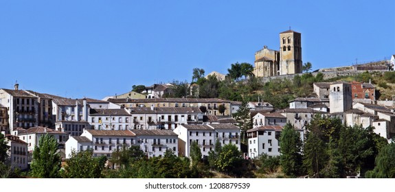 Panoramic of the town and Romanesque Church of San Salvador in Sepúlveda, Segovia (Spain).