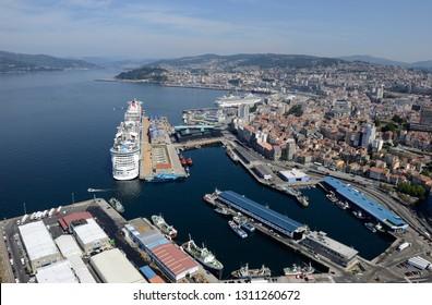 panoramic of the transatlantic port of the city of Vigo