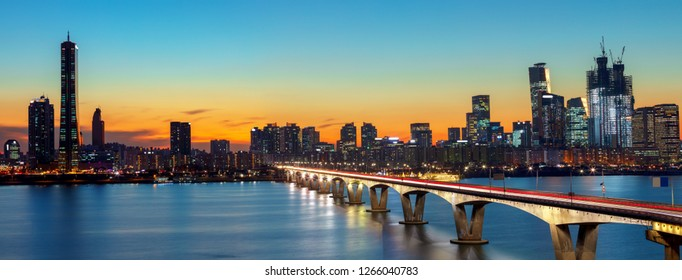 Panoramic twilight 63 Building and hangang river best view landmark and traffic on evening time in Seoul,South Korea