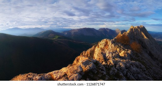Panoramic of Urkiola mountain range from Larrano