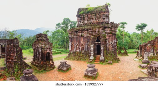 Panoramic view of abandoned and partially ruined Hindu temples at My Son Sanctuary, a UNESCO World Heritage site in Quang Nam, Vietnam