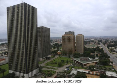 Panoramic view from above of the administrative city of abidjan, ivory coast. Picture taken from CCIA building. Tall rectangular towers. Pattern of windows. Urban picture taken on 17th september 2017.