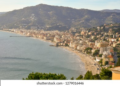 Panoramic view from above of the coastal city of Alassio, Liguria, Italy