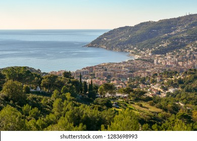 Panoramic view from above of the coastal city of Andora with Capo Mimosa, Liguria, Italy