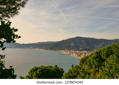 Panoramic view from above of the costal cities of Alassio and Laigueglia, Liguria, Italy