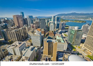 Panoramic view  from above  downtown of  Vancouver, Canada.