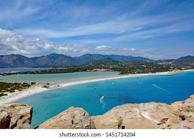 Panoramic view from above of the landscape near Villasimius, Sardinia, Italy