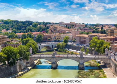 Panoramic view above Rome and Tiber in a summer day in Rome, Italy