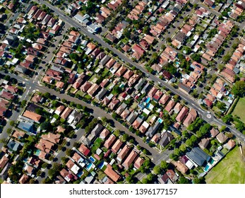 Panoramic View from Above Sydney NSW Australia Suburbia & view's of the Urban housing and city skyline and blue skies