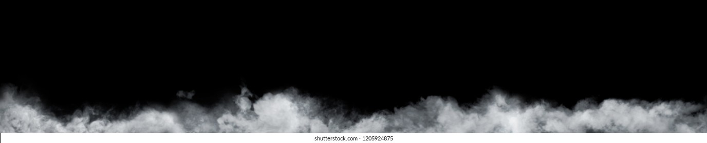 Panoramic view of the abstract fog or smoke move on black background. White cloudiness, mist or smog background.