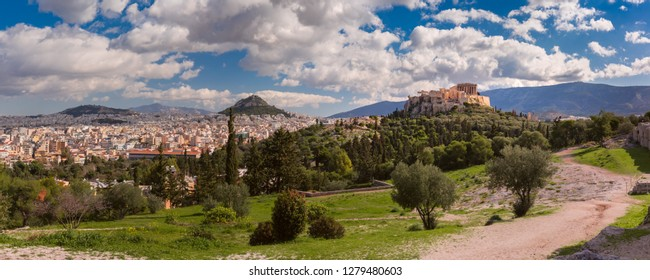 Panoramic view of the Acropolis Hill and Mount Lycabettus at midnoon in Athens, Greece