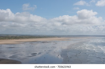 Panoramic View Across Saunton Sands Beach and Braunton Burrows at Low Tide on the Coast in North Devon, England, UK