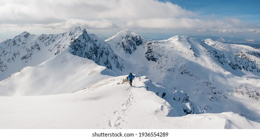 Panoramic view and active man ski touring at mountains background at sunny winter day. Ski mountaineer with blue jacket walking up along a steep snowy ridge with the skis in the backpack