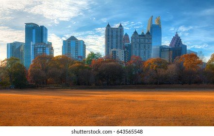 Panoramic view of the Active Oval in the Piedmont Park and Midtown Atlanta behind it in autumn day, USA