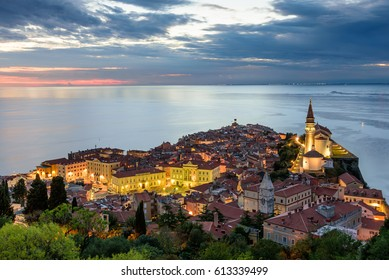 Panoramic view of Adriatic sea and city of Piran in Istria, Slovenia.  Piran is one of Slovenia's major tourist attractions
