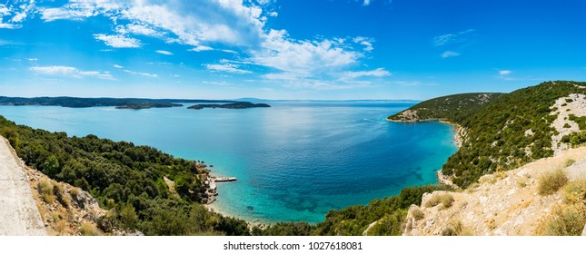 Panoramic view of Adriatic Sea and island Cres in the distance,  near town Lopar on island Rab in Croatia