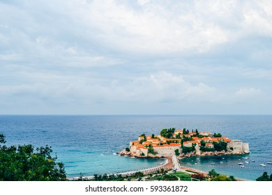 Panoramic view of Adriatic Tivat island, Montenegro