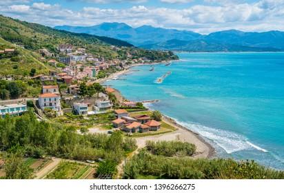 Panoramic view of Agnone Cilento and  coastline. Campania, southern Italy.
