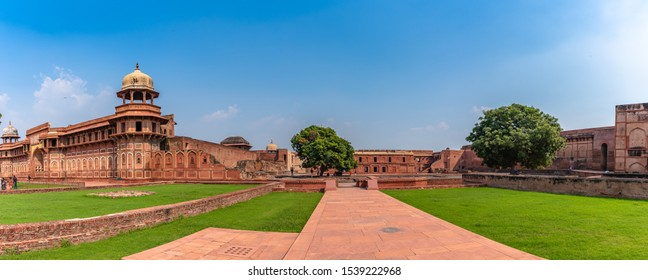 Panoramic view of Agra Fort, historical fort in the city of Agra in India. It was the main residence of the emperors of the Mughal Dynasty until 1638, when the capital was shifted from Agra to Delhi.