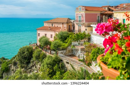 Panoramic view in Agropoli with the sea in the background. Cilento, Campania, southern Italy.