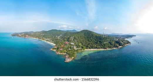 panoramic view from the air on the coastline of Koh Phangan island. Thailand