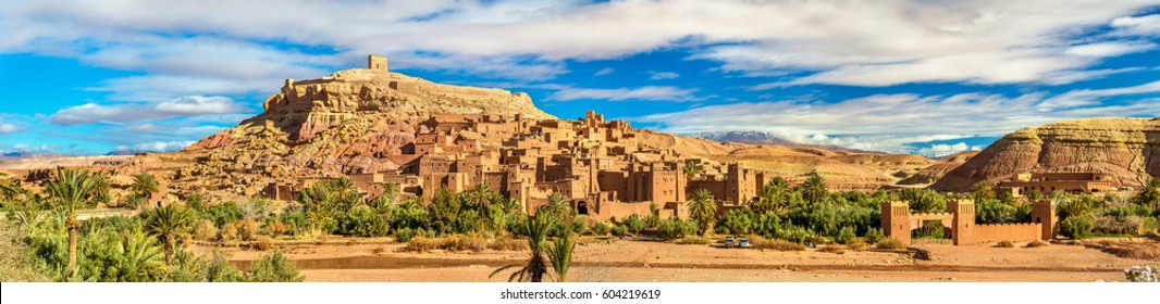 Panoramic view of Ait Ben Haddou, a UNESCO world heritage site in Morocco