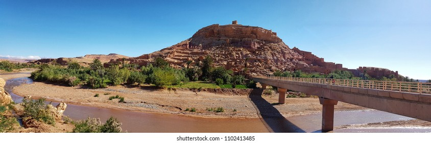 A panoramic view from Ait BenHaddou Kasbah in Ouarzazate -Morocco