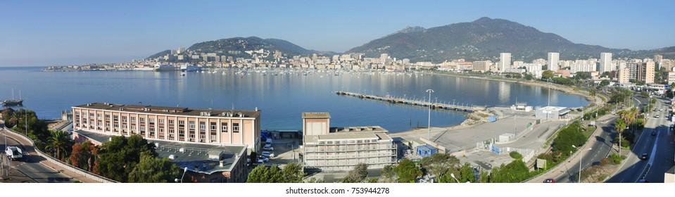 panoramic view of ajaccio, corsica island