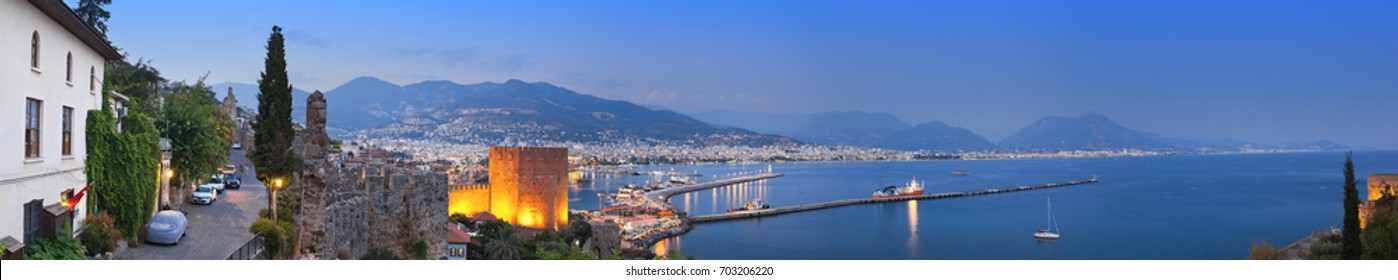 Panoramic view of Alanya harbor after sunset. Alanya, Turkey