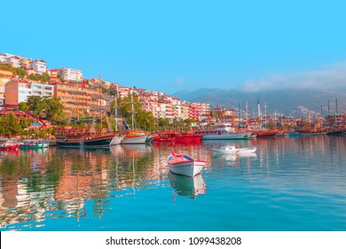 Panoramic view of Alanya harbor with a lot of boats -  Alanya, Turkey
