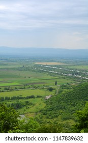 Panoramic view of the Alazani valley from the height of the hill. Kakheti region, Georgia